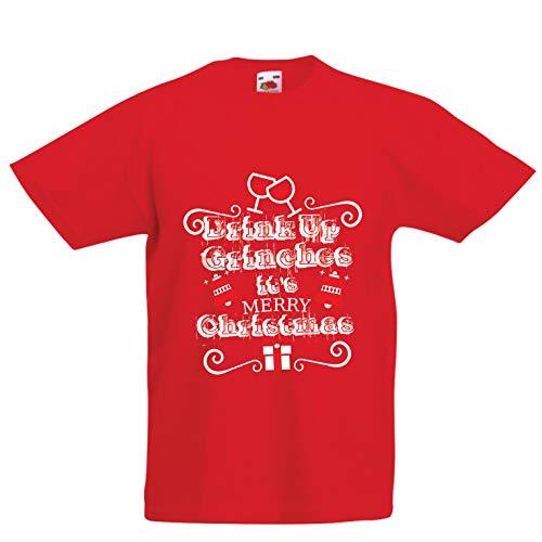 lepni.me Kinder Jungen/Mädchen T-Shirt Trinken Sie Grinches - Frohe Weihnachten (9-11 Years Rot Mehrfarben)
