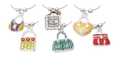 Weinglasanhänger mit Handtaschenmotiven - originelles Geschenk für Frauen