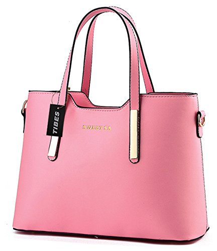 Tibes Luxus PU Leder Handtasche Mode Umhängetasche Tasche Rosa