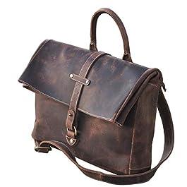 Borsa messenger, cartella per laptop e libri in vera pelle per uomini e donne, in stile vintage, fatta a mano, robusta e…