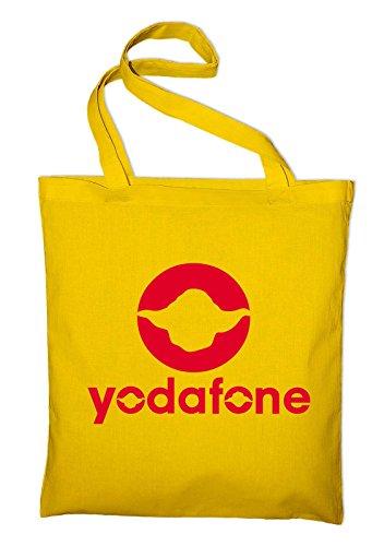 Yodafone Yoda Fun Logo Jutebeutel, Beutel, Stoffbeutel, Baumwolltasche, maroon Gelb