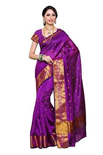 Mimosa Women's Silk Saree (588-Ab-Mej_Mejantha, Purple , Free Size)