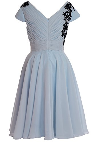 MACloth Elegant Cap Sleeve Short Mother of Bride Dress Cocktail Formal Gown Weiß