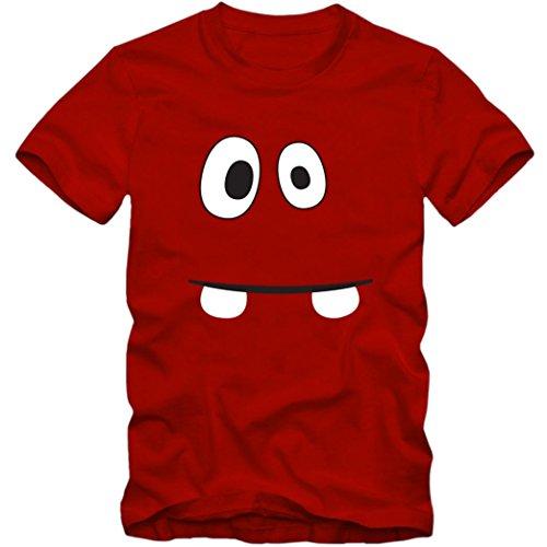 m Monster 02 Premium Kindershirt   Verkleidung   Karneval   Fasching   Unisex   Kindershirt, Farbe:Rot (Red L190k);Größe:8 Jahre (118-128 cm) (Billig Narr Kostüme)