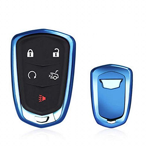 Schutzhülle Case Cover Cadillac Flip Key Fob Auto Remote Key Fob Fall für XT 5 ATSL XTS CT6 SRX Schlüsselanhänger Remote Key Key Case (Farbe : Blau) ()