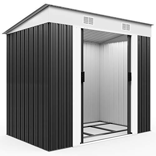 Deuba Cobertizo de metal de 3,35m³ Antracita con aeración en la cumbrera y base almacenaje exterior...