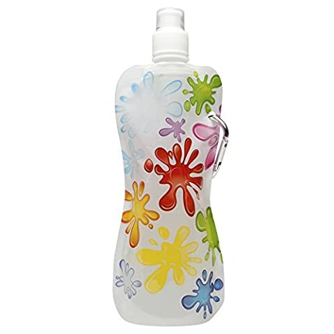 Smooth Trip 16 oz. Folding Packable Water Bottle - Fun Prints (Splash White) by Smooth Trip Travel Gear