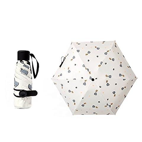 Travel Five Foldable Umbrella résistant au vent léger avec anti-UV / slip poignée, chat, Crémeux