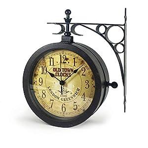 TFA Dostmann Nostalgie Wanduhr und Thermometer, Gartenuhr, Aussenbereich geeignet, doppelseitig, 60.3011