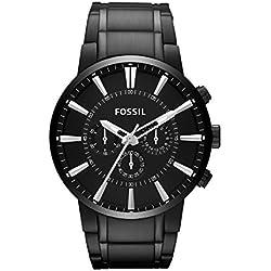 FOSSIL Men's Other / Montre chronographe homme en acier inoxydable noir - Aiguilles chromées luminescentes - Boîte de rangement et pile incluses