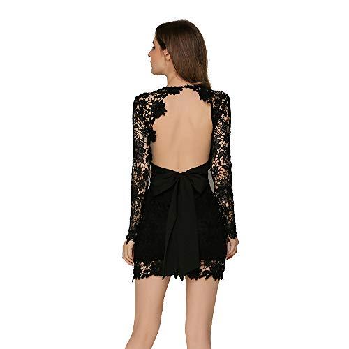 HJG Cocktail-Kleider für Frauen mit Sexy Langarm rückenlose Spitze, Party-Mini-Kleid mit Satin-Schleife,Black,L Mini Satin Cocktail-kleid