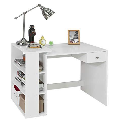 SoBuy Scrivania,Porta PC,Tavolo per Computer ,con cassetto e tre ripiani,,bianco,FWT35-W,IT