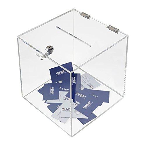 HMF 46917 Spendenbox, Würfel Aktionsbox, Losbox, 25,0 x 25,0 x 25,0 cm