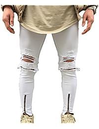 Juleya Jeans hombre pantalones de mezclilla Slim Fit Stretch Skinny Denim Jeans agujeros Jeans destruidos elásticos cómodos 5 colores 28-38