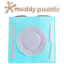 """Muddy Puddle - """"The Chef"""" Busy Book - Colorful Fabric Book with Play Pieces - Best Educational Gift Toy for Kids 2-6 Years - Soft Fabric Quiet Book for Sensory, Fine Motor Skills"""