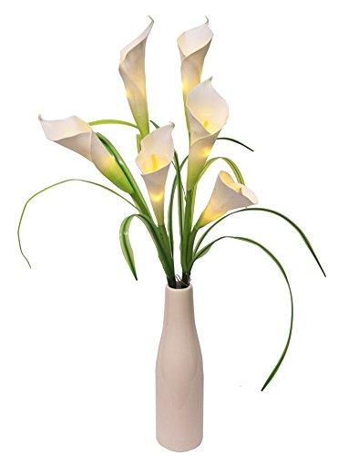 Flair Flower Leuchtzweig Calla x 6, mit Vase, Plastik, weiß, 65 x 15 x 15 cm