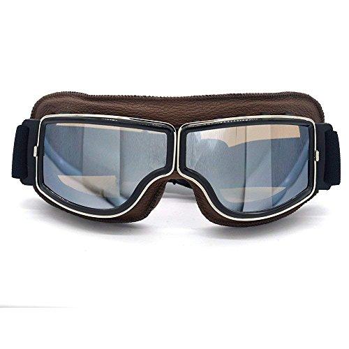 4cd95ec9c4 Ocamo Cuir Vintage Scooter Ski Pilot Lunettes Lunettes de Soleil Casque  Eyewear