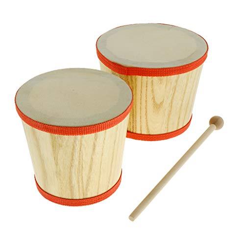 SM SunniMix Kinder Trommel Bongo Instrumente Percussion Rhytmus Lernen mit 2X Drumsticks