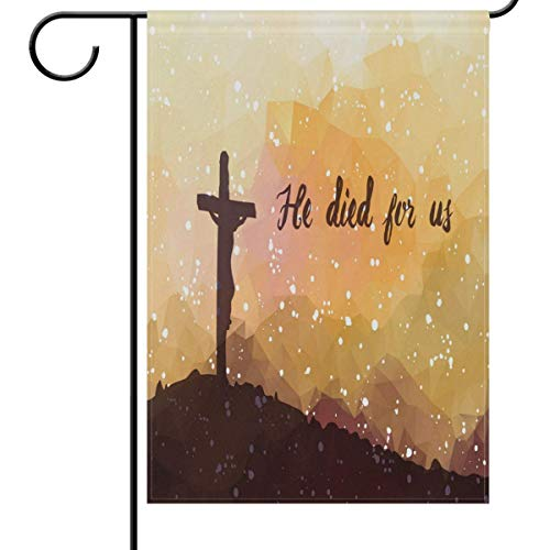 fdgjfghjdfj He is Risen Easter Cross Snowflakes Garden Flag 12 x 18 Double Sided, Easter Day House Yard Flags Welcome Outdoor Indoor Banner for Party Home Decorations -