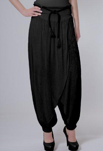 CASPAR KHS002 Pantalon harem sarouel pour femme Noir