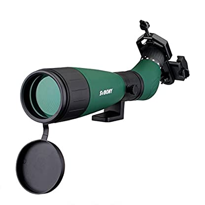 Svbony SV18 20-60x60 Spotting Scope High Power Large Center Focus Wheel Classic BK7 Fully Coated with Universal Telescope Adapter for Birdwatching Climbing Hunting moon