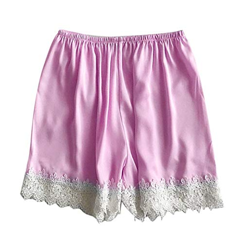 COOOOEENS Pyjamas Lila Farbe Hose Womens Schlaf Bottoms Satin elastische Taille weißer Spitze Shorts Kostüm Seide Sommer Nachtwäsche -