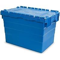 Hans Schourup 22600463 Mehrwegbehälter mit Klappdeckel, 600 mm x 400 mm x 416 mm, Blau