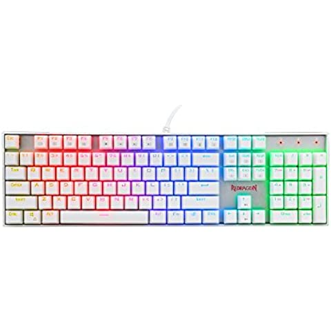 Redragon VARA K551W RGB Retroilluminato Meccanico Gioco Tastiera con retroilluminazione LED RGB 104 Chiavi Fit per i giocatori, dattilografi, Inglese Disposizione (Bianco)