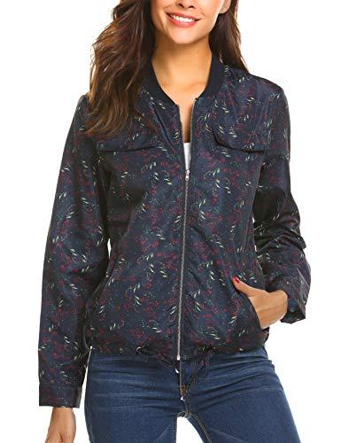 9601d8e799c505 Finejo Damen Blumen Bomberjacke Kurzejacke mit Reißverschluss Floral Bomer  Sport Jacke Outwear Mantel Langarm Übergangsjacke Streetwear