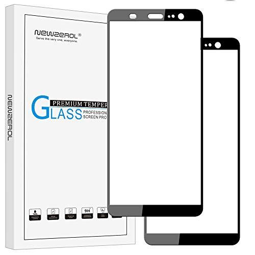 """Newzerol - Lot de 2 protecteurs d'écran (6"""") pour HTC U11 Plus, couverture totale, en verre trempé, anti-rayures, anti-bulles, haute définition, dureté 9H - Noir"""