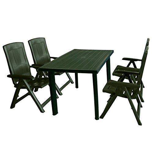 Multistore 2002 5tlg Gartenmöbel-Set Gartentisch, 125x75cm, Sonnenschirmöffnung + 4X Klappstuhl Tampa - Kunststoff, Grün