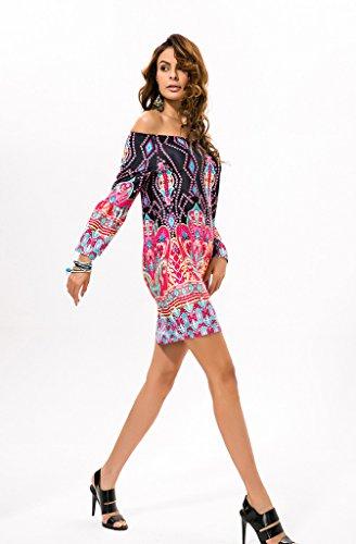 4c7aaefb387ac5 ... GWELL Morden Damen Schulterfrei Drucken Blumen Bodycon Etuikleid  Partykleid Sommer Kleid Strand Kleid Muster-B ...