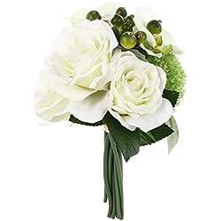 Ramo Novia Artificial - imitación flores reales - tonos blancos