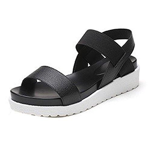 Saingace Damen Sommer Sandalen Schuhe Peep-Toe Low Schuhe Römische Sandalen Damen Flip Flops Schwarz
