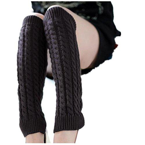 Amlaiworld 1 paar Damen Stretch Winter warme Bein Wärmer gestrickte Häkel lange Socken (Grau) (Gestrickte Bein-wärmer)