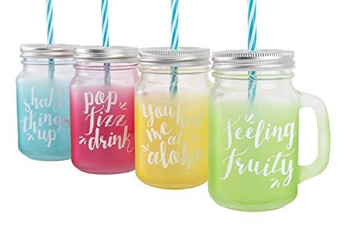 Lot de 4 Mason style Bocaux à Confiture en verre à boire couleur avec poignée et paille