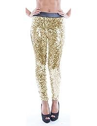 Arunta® Damen Leggings mit Pailletten Glitzerhose in vielen Farben