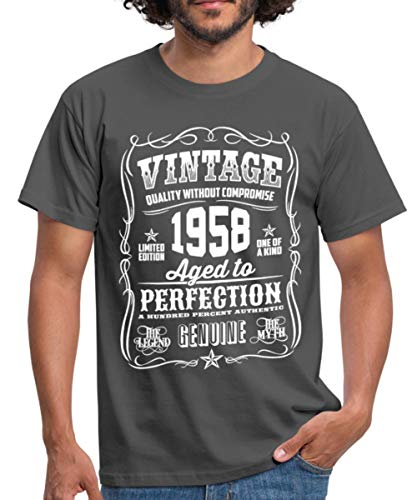 Spreadshirt 60th Birthday 1958 Birth Year Slogan Typography Mens T Shirt M Graphite