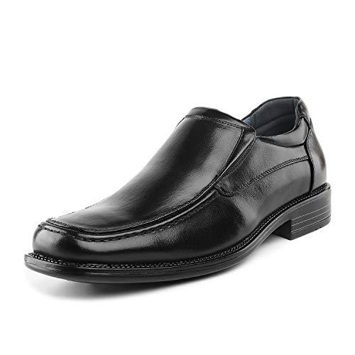 Bruno Marc Herren Goldman-02 Schwarz Leder Gefüttert Square Toe Loafers Schuhe Größe 46 EU -