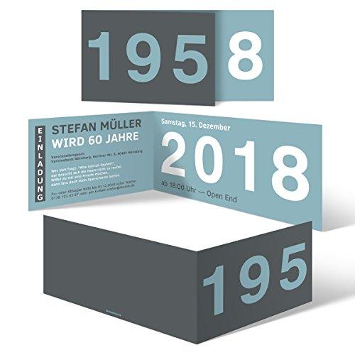 10 x Runder Geburtstag Einladungskarten 60 Jahre Geburtstagseinladungen - Jahrzehnt Sprung