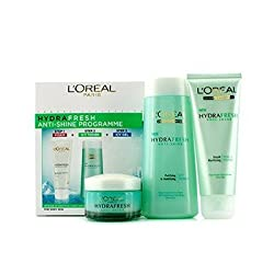 LOreal Hydrafresh Anti-Shine Programme: Icy Toner 200ml + Foam 100ml + Icy Gel 50ml - 3pcs