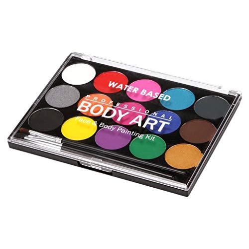 FLAMEER 15 Farben Ungiftig Gesicht Malen Palette Gesichtsfarben Körperfarbe Schminkpalette Schminkset