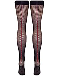 Black Fishnet Stockings with Red Back Seam