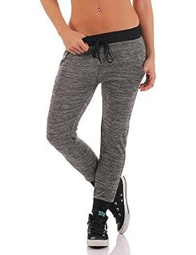 cleostyle Mujer wohlfühl- Pantalón Chándal Pantalón Bombacho Pantalón deportivo Fitness Pantalones Jogging CL...