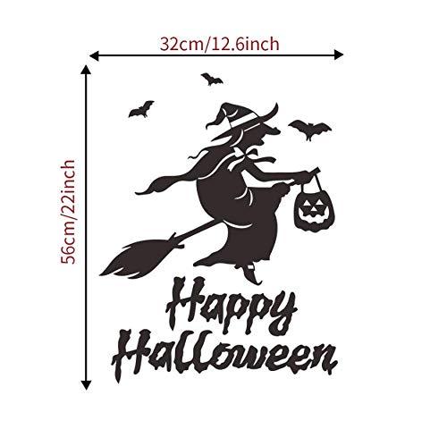LONGTENGHEIHA Halloween Fliegende Hexen Wandaufkleber Wohnzimmer Wand Fenster Outdoor Decor Hexe Silhouette Vinyl Aufkleber Abnehmbare Kunstwand
