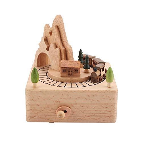 Topincn carillon di legno del treno bellissimo artigianato in legno musicale per ragazzi e ragazze compleanno regali di natale decoron casa