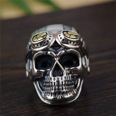 AXJr Punk Ring Two Tone 925 Sterling Silber Totenkopf Offener Ring mit goldener Brille für Männer Jungen Einstellbare Größe Q 1/2-V 1/2 Punk Ringe