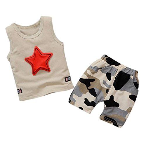 Jiackey Neonato Bambino Stampa Stelle Gilet T Shirt Camicia Cime e Camuffamento Pantaloni Abiti Set