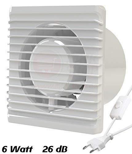 MKK Planet  - Ventilatore da bagno Ø 100mm in Bianco con spina e interruttore a levetta, ventola frontale da incasso, silenziosa, per bagno e cucina, 10cm