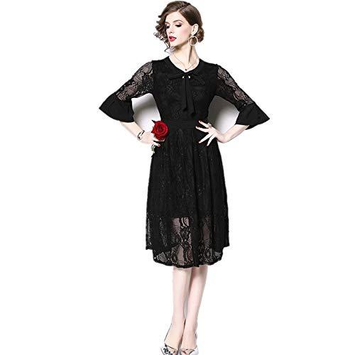 QUNLIANYI Bendkleid Tüll Lang Elegante Fliege Kragen Aushöhlen Schwarz Spitze Kleid Flare Ärmel Big Swing Party Robe Femme Midi Kleid L